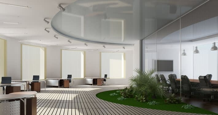 Stretch ceiling in contemporary office space