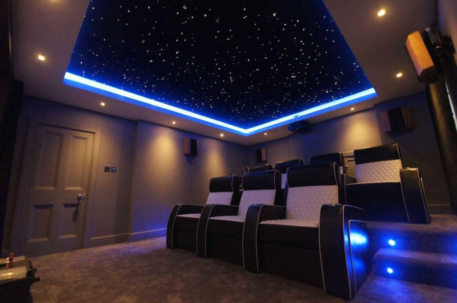Fiber optic star ceiling cinema room