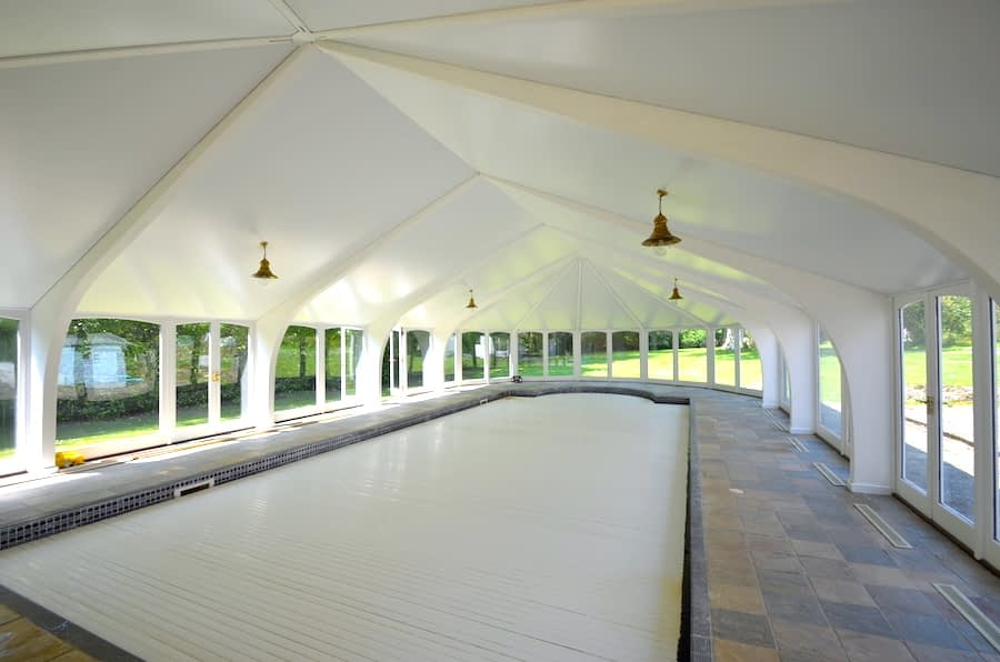 Satin stretched ceiling over swimming pool