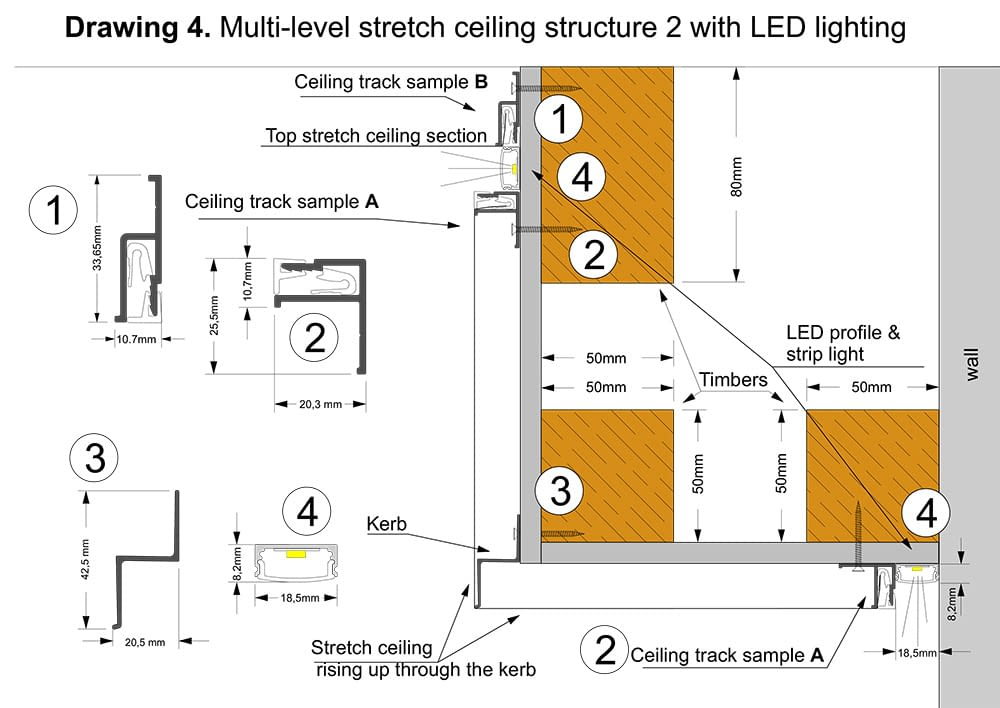 multilevel ceiling structurewith LED