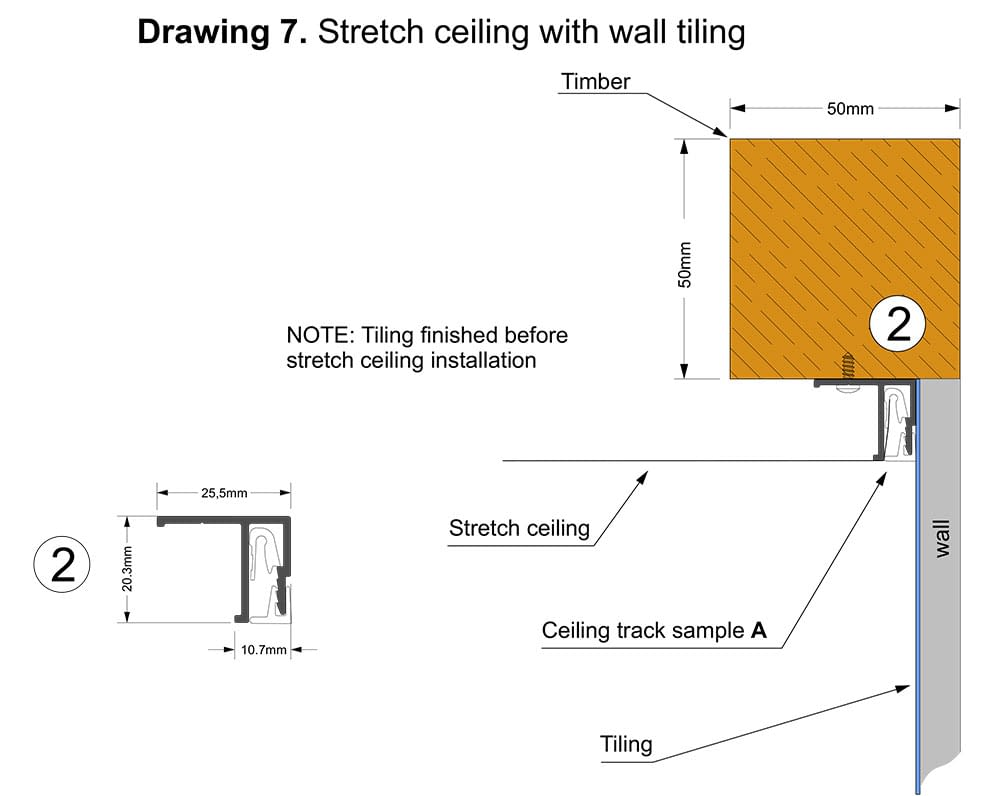 Stretch ceiling with wall tiling
